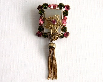 Vitage Victorian MOP Pink Green Rhinestone Brooch - Dangle - Fox Tail Chains - Mother of Pearl