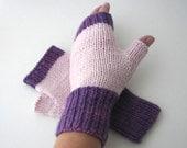 Amethyst Rose Hand Knit Fingerless Merino WOOL Gloves
