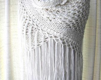 CREAM WHITE Hand Knit Shawl Triangle Scarf Fringes in Anti Pill Acrylic / Bridal Shawl