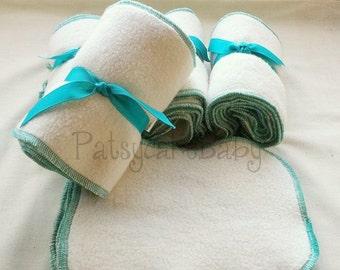 Organic Sherpa Cloth Wipes, washcloths, reusable, washable, eco friendly, 6x8, organic cotton