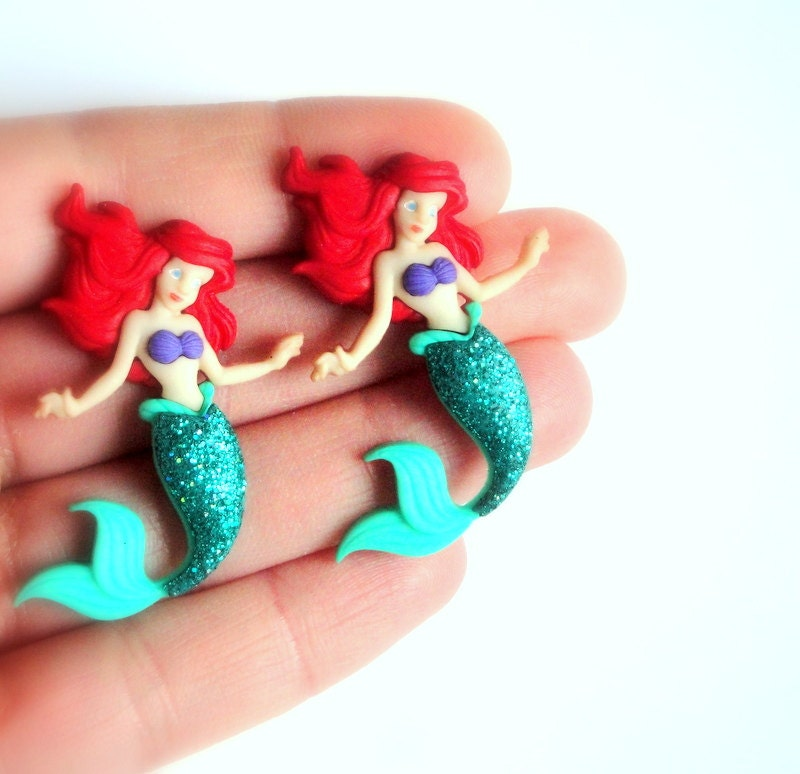 large mermaid stud earrings ariel earrings by ringsofsaturn
