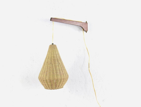 Mid Century Modern Adjustable Swing Arm Wall Hanging Lamp