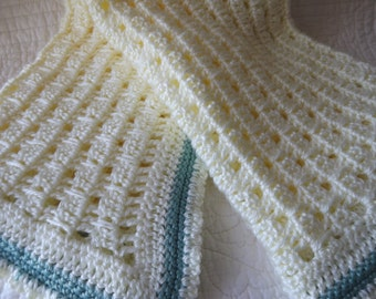 Crocheted Baby Blanket in a Soft Shade of Cream with Light Aqua Detail Near the Edge