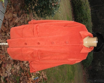 Orange Corduroy Coat / Vintage Corduroy Car Coat / Ladies Vintage Coat / Button Down Front Fall Fashion Back to School