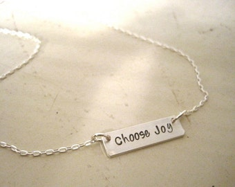Choose Joy bar necklace sterling silver hand stamped