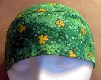 Handmade Green Skull Cap W Gold Shamrocks, Chemo Cap, Hats, Biker, Head Wrap, Women, St.Patricks, Bald,Hair Loss, Scrub Cap, Motorcycle,Men