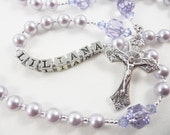 Personalized Rosary in Light Purple - Baptism, First Communion, Confirmation Gift - Swarovski Pearls and Crystals