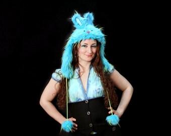 Funky Blue Bunny Hat // Faux fur hat // Playa wear // Kawaii bunny hat // Cosplay bunny