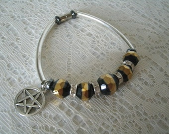 Pentacle Bracelet, wiccan jewelry pagan jewelry wicca jewelry witch witchcraft pentagram goddess metaphysical magic gothic wiccan bracelet