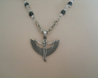 Lapis Goddess Isis Necklace, wiccan jewelry pagan jewelry wicca jewelry goddess jewelry witch witchcraft metaphysical magic mystic bast