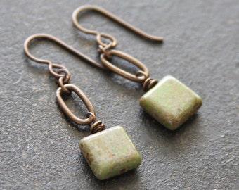 Olive Green Czech Glass Brass Earrings, Simple Earrings, Olive Dangle Earrings, Green Drop Earrings