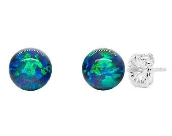6mm Blue-Green Peacock Australian Opal Ball Stud Earrings, 925 Sterling Silver, Blue-Green Opal Earrings, Silver Opal Studs, Ball Studs
