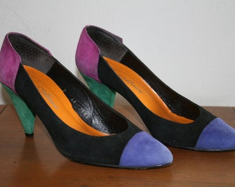 Vintage New Wave Colorblock Suede Pumps / Size 7