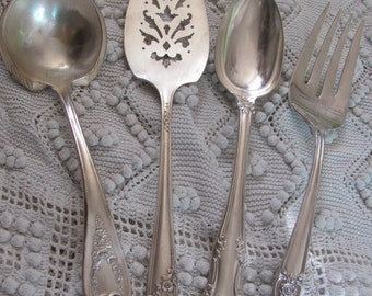 Serving 4 Assorted Vintage Silver Plate Serving Pieces - Fork Spoon Gravy Pie