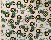 A Wonderful John Deere Tractors Tossed With Logo Cotton Fabric  By The Yard-Free US Shipping