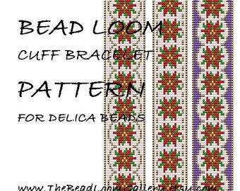 Bead Loom Cuff Bracelet Pattern Vol.43 - The December Poinsettia - PDF File PATTERN