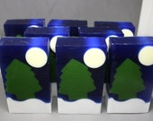 Twilight Woods - set of 8 soaps - trees, moon, snow, winter, forrest, party favor, stocking stuffer, soap for men, decorative soap, skiing