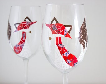 2 Mosaic Floral Fox Hand Painted Wine Glasses