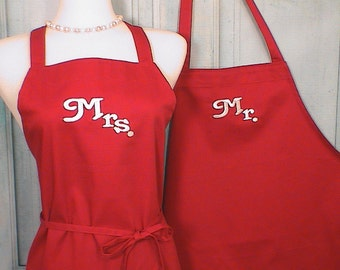 Personalized  Aprons Mr / Mrs Red Full Apron Set  Custom Embroidered Wedding gift