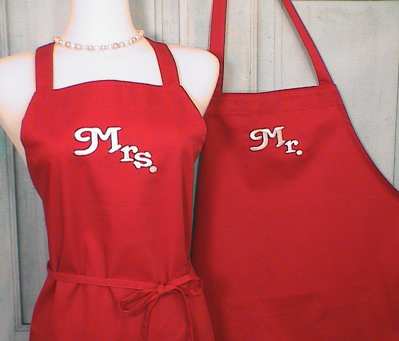Personalized Aprons Mr / Mrs Red Full Apron Set Custom