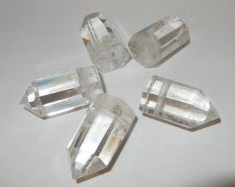 Polished Drilled Quartz Crystal