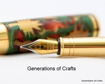 Handmade Wood Pen - Autumn Leaf Inlay Pen - Fountain Pen - Wooden Pen - Writing Instrument - 5th Wedding Anniversary ** Gifts for Him