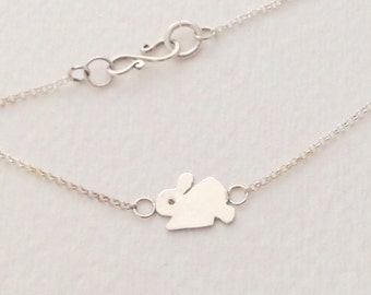 Tiny Bunny Necklace, Sterling Siver, Handmade