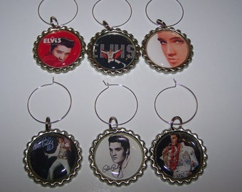 Elvis Wine Glass Charms / Elvis Drink Markers