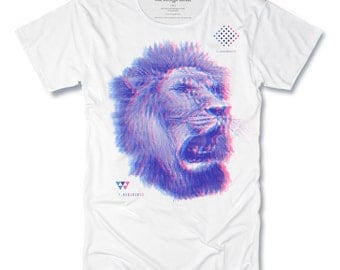 THE KING 3D mens t-shirt hand Pulled Screen Print on White Mens Tee size Small, Medium, Large, XLarge - Free Shipping -