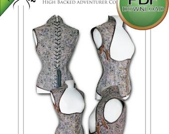 "Corset Sewing Pattern High Full  Back PDF Digital Download - size Large 26""-28""-30"" waists"