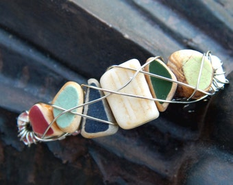 Small and Amazing Bits of Ocean Tumbled Pottery Hairclip