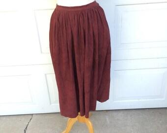 Ralph Lauren Full Burgundy Suede Skirt  80s Long Brown Leather Western Prairie Skirt XS 24 inch waist Women