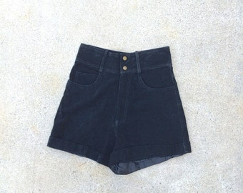 Black Suede High Waisted Short Shorts 80s to 90s Vintage Walking Leather Shorts Small 28 inch waist
