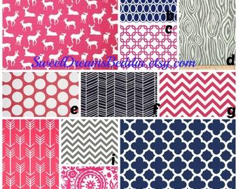 Custom Crib Bedding You Design   Bumper and Bedskirt Deer in Pink