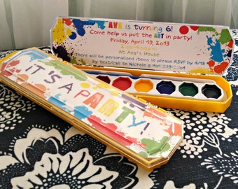 ART party invitation -- It's a pARTy! -- PRINTABLE -- Rainbow Paint Party Birthday Invitation -- DIY