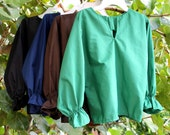 Peasant / Pirate costume shirt  long sleeved  Black/Brown/Navy/ Green cottonblend  for boys