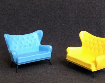 Vintage doll house blue wing settee. Miniature sofa, collectible retro model furniture.