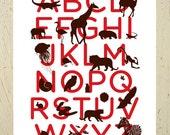 Alphabet print - red and brown animal ABC art print by Erupt Prints. Alphabet art print for the nursery, red wall art, babies room, nursery
