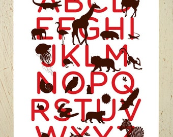 Alphabet print - red and brown animal ABC art print by Erupt Prints. Large size