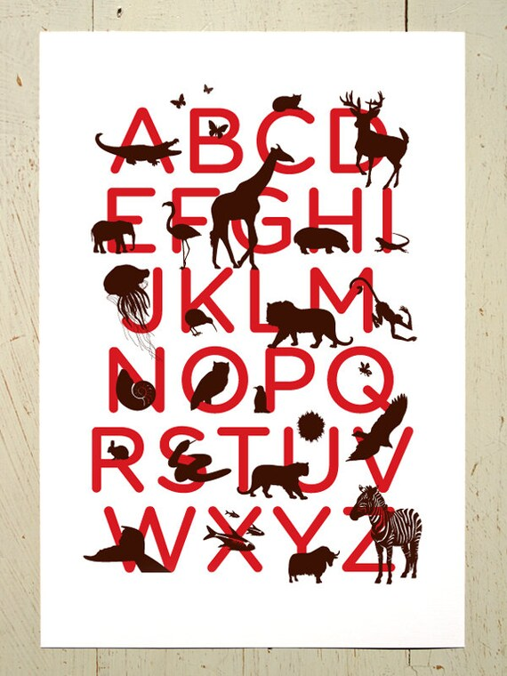 Alphabet print - red and brown animal ABC art print by Erupt Prints. Alphabet art print for the nursery, red wall art, babies room, nursery