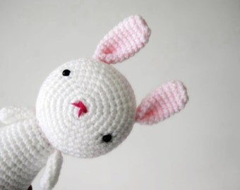 Pastel Pink and White Bunny, toy hand-crocheted, Amigurumi, ready to ship