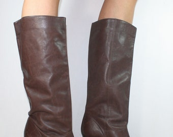 Vintage brown riding knee high tall high heel womens Leather fashion 8 M B