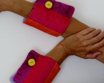 wrist cuffs detachable, Striped velvet fabric, woman accessories