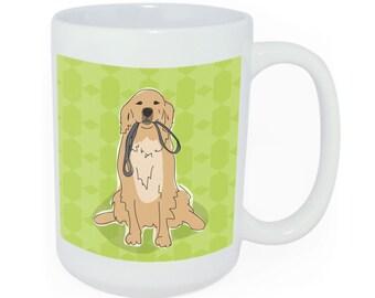 Golden Retriever Coffee Mug Gift - Time to Walk the Dog Mug - Ceramic Funny Coffee Mugs - Golden Retriever Gifts