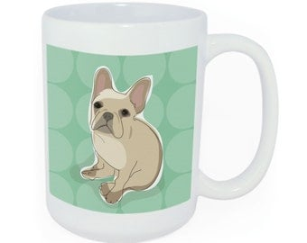 French Bulldog Mug - Time to Walk the Dog Mug - Ceramic Funny Coffee Mugs - Fawn French Bulldog Gifts