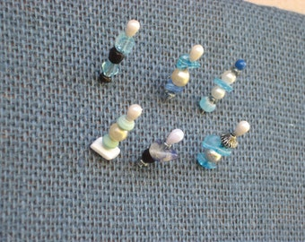 Nautical Push pin set of mini decorative designer pins made from pearls, crystals and beads for displaying jewelry or photos on memo boards