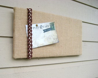 Pin or Bulletin Board in Burlap with a macrame knot accent in two colors for a Retro and beachy styled decor for your cabin or office