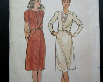 Vintage 1980s Tapered Sleeve A Line Dress Pattern Butterick 3549 Size 12