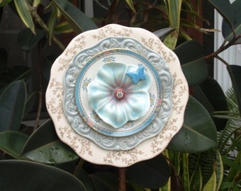 vintage creme white blue pink red button Glass Plate Flower repurpose floral butterfly daisy