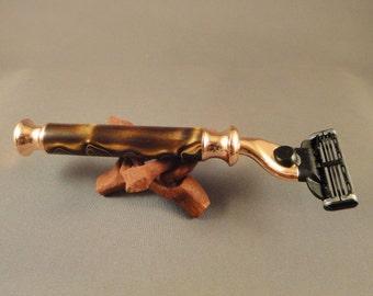 Gillette Mach 3 - Bright Copper Razor - Copper with Gold Swirl Acrylic